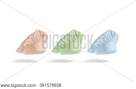 Blank Colored Toque Chef Hat Mockup, Side View, No Gravity, 3d Rendering. Empty Pink, Green, Blue He
