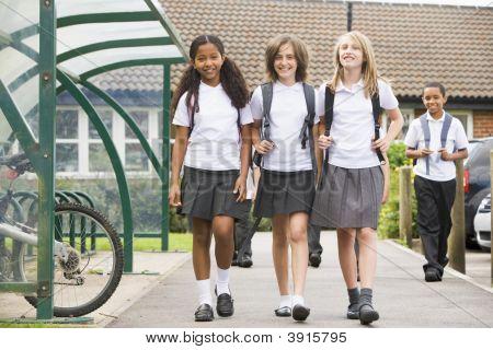 Children Leaving School For The Day