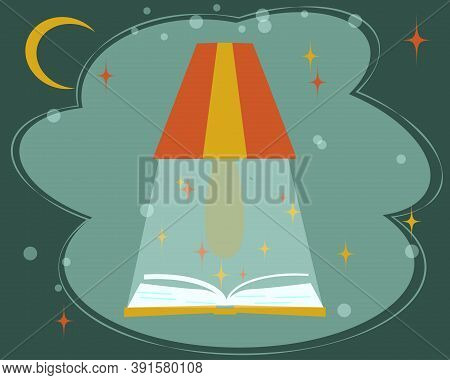An Exciting Activity Is Reading Book. An Open Book, Table Lamp, Fabulous Clouds, Moon And Stars Are
