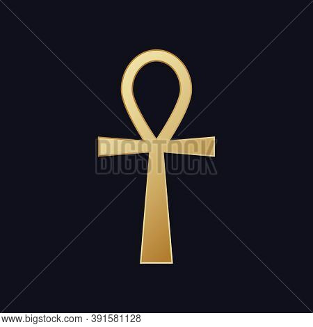 Egyptian Cross Ankh. Hieroglyphic Symbol Golden Color Of Mystical Mysteries Pharaohs Sign Eternal We