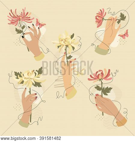 Hands With Chrysanthemum Flowers. Vector Fashion Illustration. Trendy Vintage Styled Collages Isolat