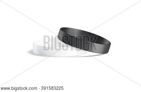 Blank Black And White Two Silicone Wristband Mockup Lying, Isolated, 3d Rendering. Empty Plastic Arm