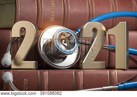 2021 Happy New Year for health care medicine and pharmacy industry. Number 2021 with stethoscope on vintage books of medicine. 3d illustration.