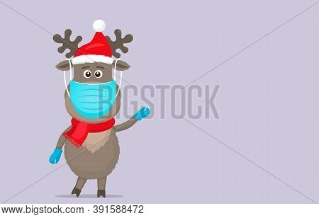 Polar Deer In A Santa Claus Hat In A Medical Mask And Surgical Gloves. Covid 19 Prevention Concept.