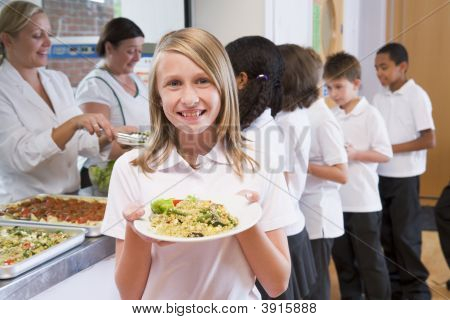 Pupils Queing For School Dinners