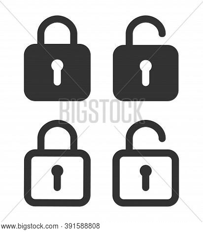 Lock Icon. Padlock Unlock. Password For Closed Of Locker On Website. Symbol Of Private And Security