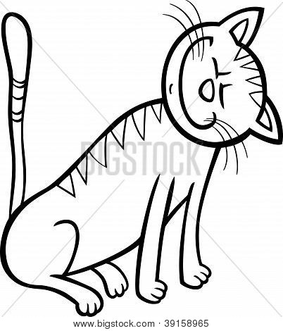 poster of Cartoon Illustration of Happy Tabby Cat for Coloring Book