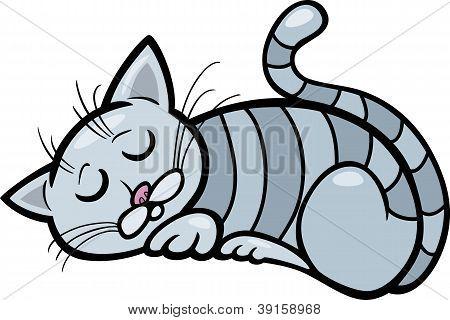 poster of Cartoon Illustration of Sleeping Gray Tabby Cat