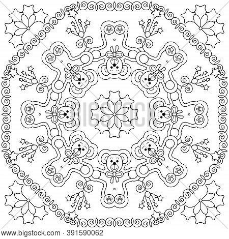 Cute Cuddly Bear. Tenderness And Hugs. Christmas Coloring Page. Vector Illustration.