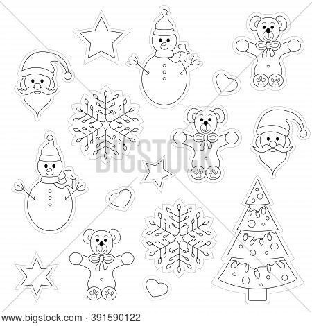 Set Of Christmas Decoration And Characters. Drawings To Color And Cut Out. Black And White. Vector I