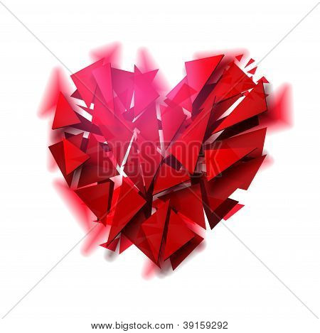 Broken heart on a white background