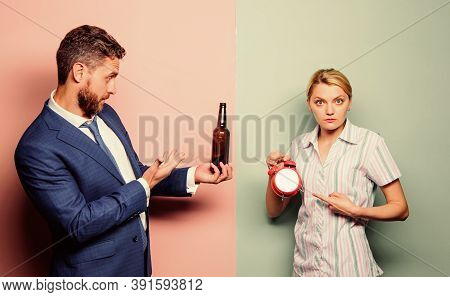 Couple Man And Woman Problem. Family Conflict. Alcoholism Problem. Drunk Man. Drunk Worker After Wor