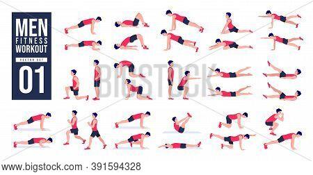 Men Workout Set. Men Exercise Vector Set. Men Doing Fitness And Yoga Exercises. Lunges, Pushups, Squ