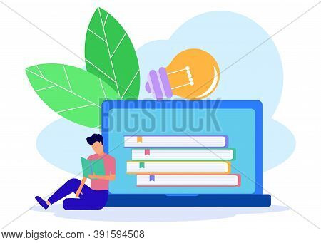 Vector Illustration, Online Education From Home To Home. Website Development, E-learning And Mobile