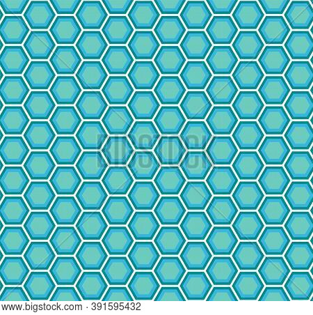Abstract Bright Geometric Seamless Pattern Of Blue Honeycomb