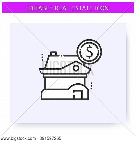Buying House Line Icon. Sale A Modern Luxury Cottage. Countryside House. Real Estate Agency, Housing