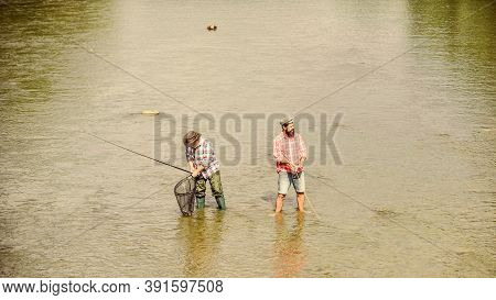 Summer Weekend. Happy Fisherman With Fishing Rod And Net. Hobby And Sport Activity. Fishing Together