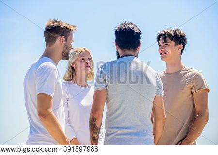 Best Friends. Summer Vacation. Business Team. Young People In Casual Style. Group Of Four People, Pa