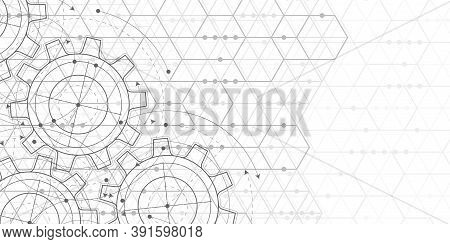 Engineering Drawing .hexagons On White Background.technical Drawing Of Gears .geometric Rhombuses.ab
