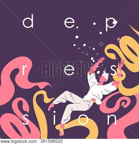 Depression Concept Illustration With Man Sinks In The Water And Octopus That Pulls Him To Depth. Low