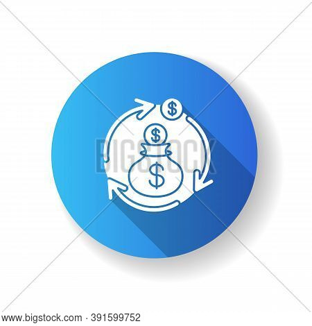Revenue Synergy Blue Flat Design Long Shadow Glyph Icon. Accounting Process. Flow Of Income. Busines
