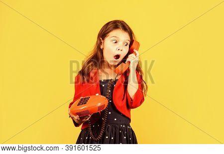 Little Talker. Retro Style. Communication Concept. Shopping Online. Retro Girl Speak Phone. Kid Talk