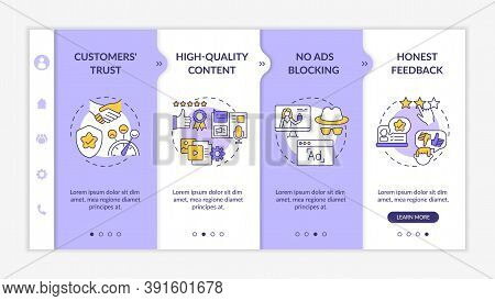 Influencer Marketing Advantages Onboarding Vector Template. Customers Trust. No Ads Blocking. Respon