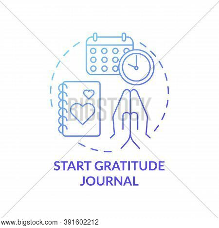 Start Gratitude Journal Concept Icon. Self Care Practices. Tool For Keeping Track Of Healthy Things