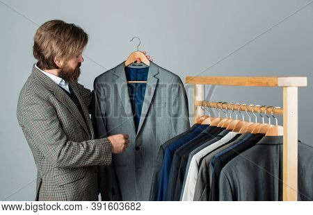 I Love It. Man With Suit. Tailor In His Workshop. Handsome Bearded Fashion Man In Classical Costume