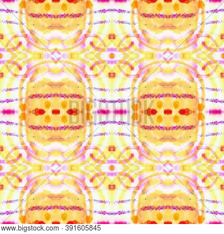 Seamless Watercolor Geometry. Colorful Mexican, Aztec Style. Fashion Boho Background. Rough Abstract