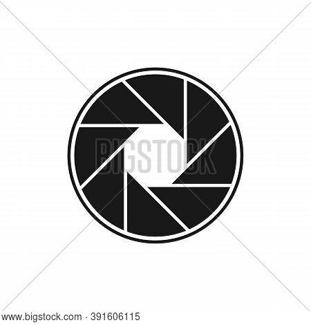 Camera Objective Icon. Objective Lens Symbol Isolated On White Background. Eps10