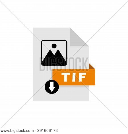 Tif Download File Format Vector Image. Tif File Icon Flat Design Graphic Vector
