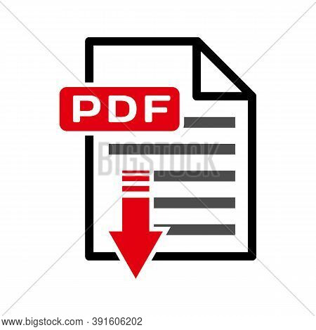 Flat Sign Of Pdf Download Icon Button Isolated On White Background, Illustration Vector Design