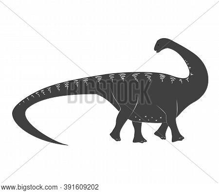 Little Apatosaurus Cartoon Baby. Jurassic Period Dinosaur Icon Isolated On White, Apatosaurus Vector