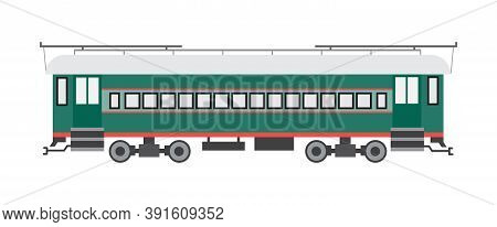 Passenger Railway Car Of Suburban Train, Wagon Of Subway Or Metro