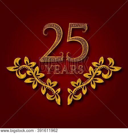 Twenty Five Years Anniversary Celebration Patterned Logotype. Twenty Fifth Anniversary Vintage Golde