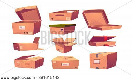 Empty Cardboard Boxes Different Shapes Isolated On White Background. Vector Cartoon Set Of Brown Pac