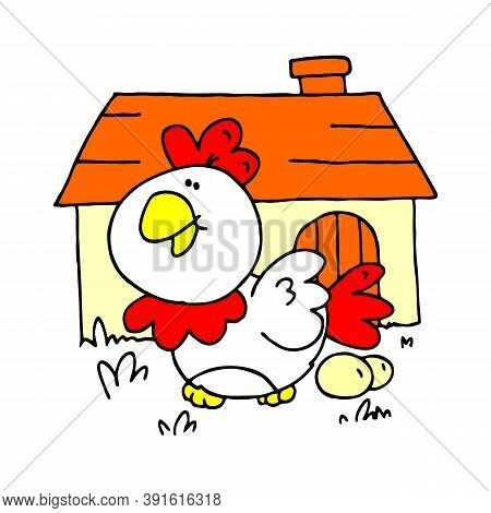 Cute Cartoon Chicken Illustration. Cartoon Chicken Bird Isolated On Background. Chicken, Bird, Farm