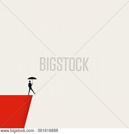 Business Insurance And Risk Management Vector Concept. Man With Umbrella On A Cliff.