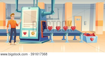 Factory Producing Hearts, Engineer Male Character With Wrench Stand At Conveyor Belt With Huge Touch