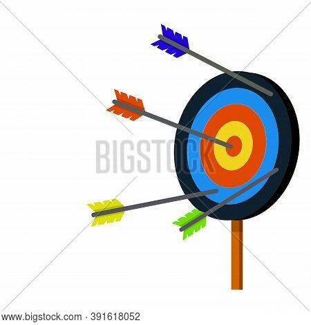 Target For Arrows. Shooting And Championship. Cartoon Flat Illustration. Hit And Miss On Target. Red
