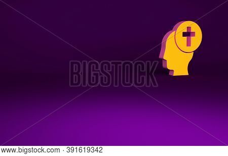 Orange Man Graves Funeral Sorrow Icon Isolated On Purple Background. The Emotion Of Grief, Sadness,