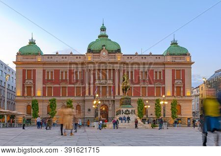 Belgrade, Serbia - October 17, 2020: National Museum In Belgrade, Serbia; Dusk Over Belgrade On Main