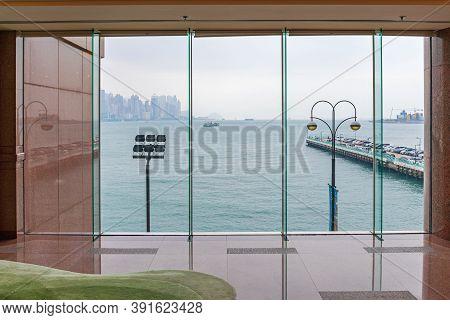 Look Trough Big Window In Hong Kong