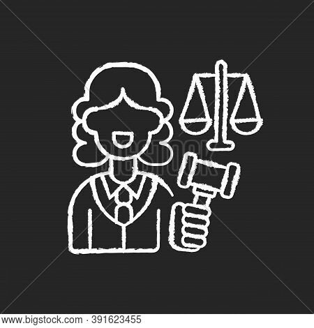 Justice Sector Chalk White Icon On Black Background. Judiciary. Legitimacy. Court. Judicial Reform.