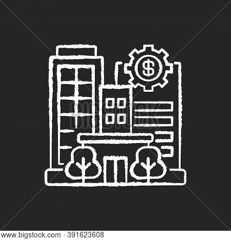Banks And Financial Institutions Chalk White Icon On Black Background. Business Operations. Banking