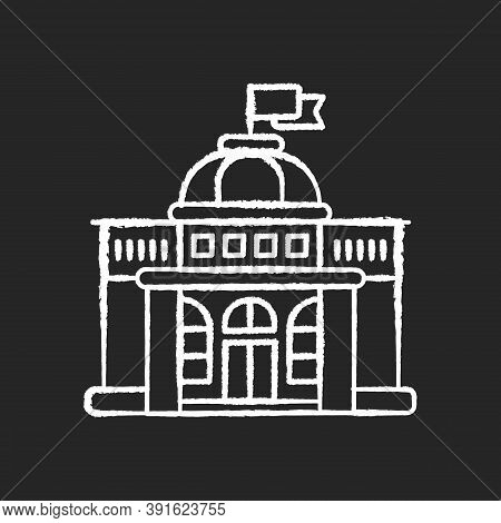 Government Chalk White Icon On Black Background. Authorities. Political Power. Legislature, Executiv