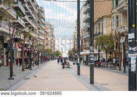 THESSALONIKI, GREECE - November 30, 2019: Street view of Thessaloniki city, Greece