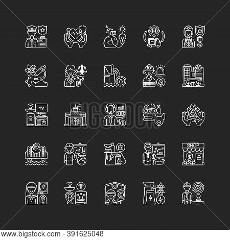Essential Services Chalk White Icons Set On Black Background. Key Industries. Hospitals And Other He