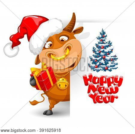 Merry Christmas And Happy New Year 2021 Greeting Design With Cartoon Funny Bull. Bull Dressed Santa